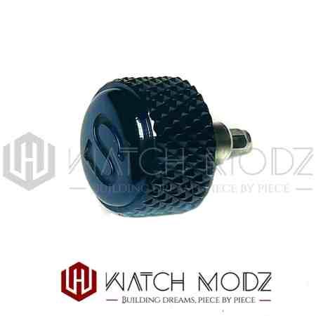 Polished blue knurled s crown for skx007