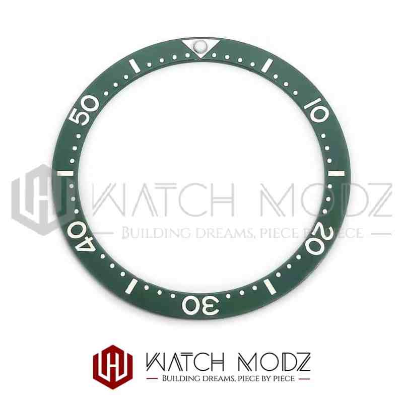 Flat Ceramic Bezel Insert: Green With White Numbers SKX007 Style