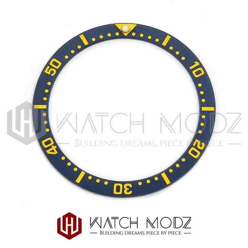 Flat Ceramic Bezel Insert: Aegean Blue Gold Numbers SKX007 Style