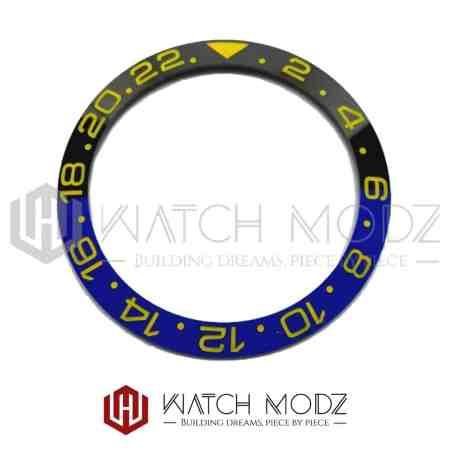 Sloped Ceramic Bezel Insert: Batman GMT Style Yellow Numbers