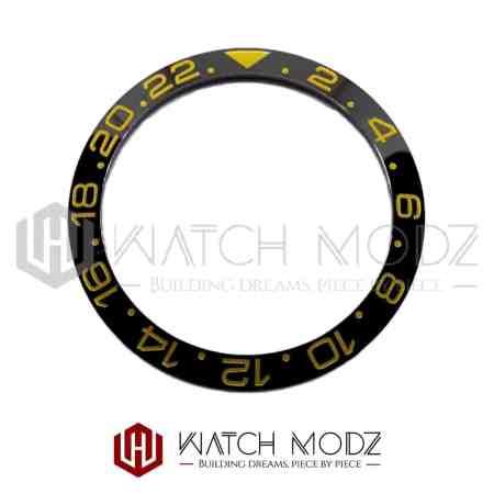 Sloped Ceramic Bezel Insert: Black GMT Style Gold Numbers