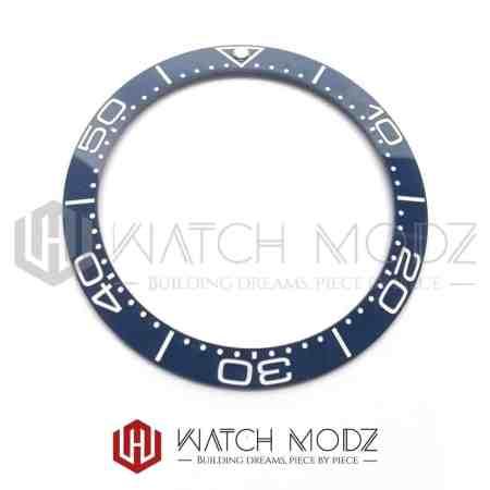 Sloped Ceramic Bezel Insert: Aegean Blue SM Style White Numbers