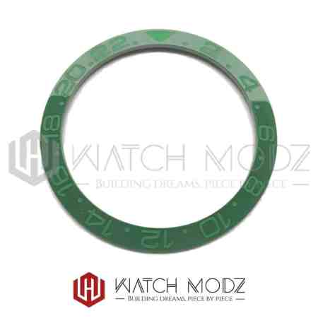 Sloped Ceramic Bezel Insert: Green GMT Style Green Numbers