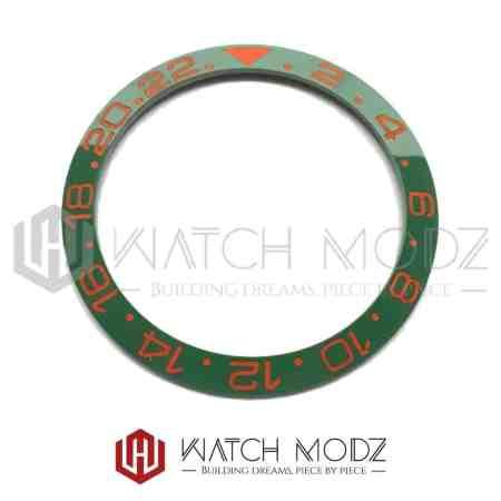 Sloped Ceramic Bezel Insert: Green GMT Style Sunset Orange Numbers