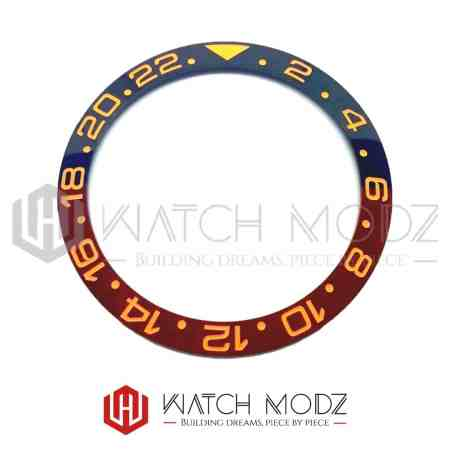 Sloped Ceramic Bezel Insert: Root Beer GMT Style Rose Gold Numbers