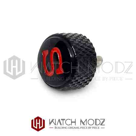 """Black Knurled """"Red S"""" Crown for skx007"""