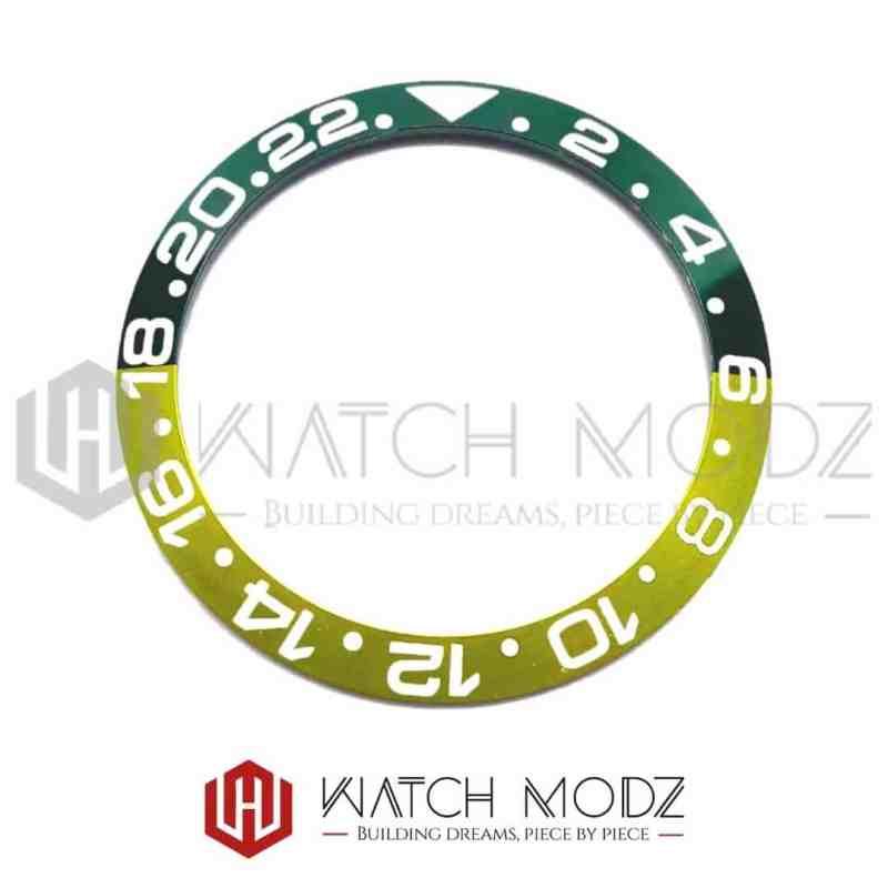 38mm Sloped Aluminum Bezel Insert: Sprite GMT Style White Numbers for skx007