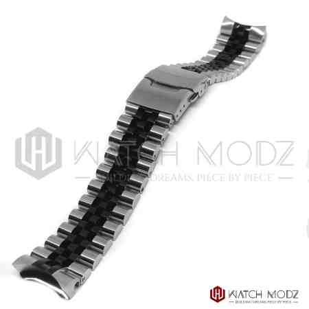 seiko skx007 two tone black and silver aftermarket jubilee bracelet