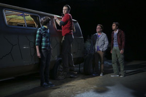 """""""The Bachelor Party Corrosion"""" -- The guys' science skills are put to the test when they get a flat tire during Leonard's bachelor party weekend in Mexico, on THE BIG BANG THEORY, Monday, Oct. 5 (8:00-8:31 PM, ET/PT), on the CBS Television Network. Pictured left to right: Simon Helberg, Jim Parsons, Johnny Galecki and Kunal Nayyar Photo: Monty Brinton/CBS ©2015 CBS Broadcasting, Inc. All Rights Reserved"""