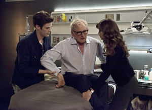 "The Flash -- ""The Fury of Firestorm"" -- FLA204A_0204b -- Pictured (L-R): Grant Gustin as Barry Allen, Victor Garber as Professor Stein and Danielle Panabaker as Caitlin Snow -- Photo: Cate Cameron /The CW -- © 2015 The CW Network, LLC. All rights reserved."