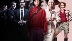 Okja (balról jobbra az ALF állatvédő szervezet 3 tagja, Mija, Lucy Mirando és Dr. Johnny Wilcox karaktere)