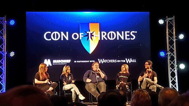Lindsey Romain, Kerry Ingram (Shireen Baratheon), Sam Coleman (Young Hodor), Aimee Richardson (Myrcella Baratheon) and me on the 'Kids of GOT' panel at Con of Thrones 2018