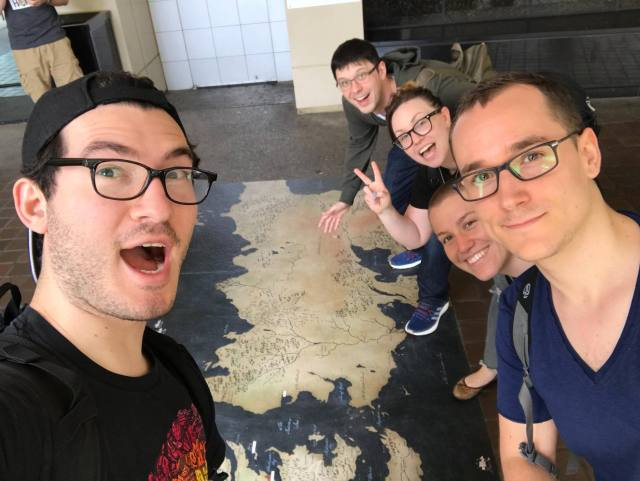 From left to right: Me, Eric, Samantha, Petra, and Luka, marveling at the map outside the hotel for Con of Thrones 2018