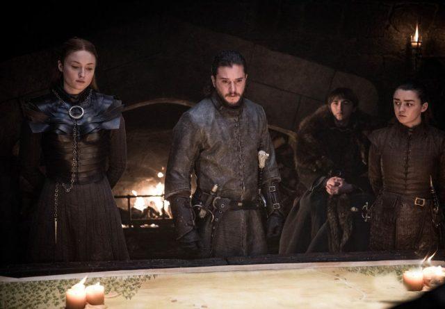 Sansa Jon Bran Arya War Meeting Season 8 802