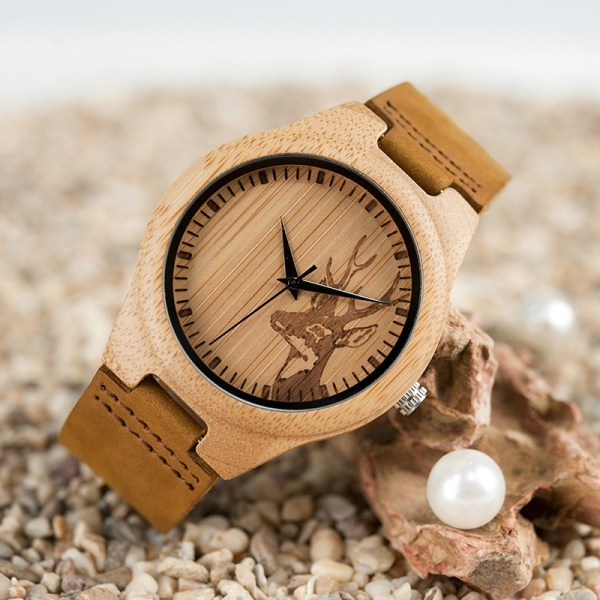 Bamboo Wooden Watch Genuine Leather Strap
