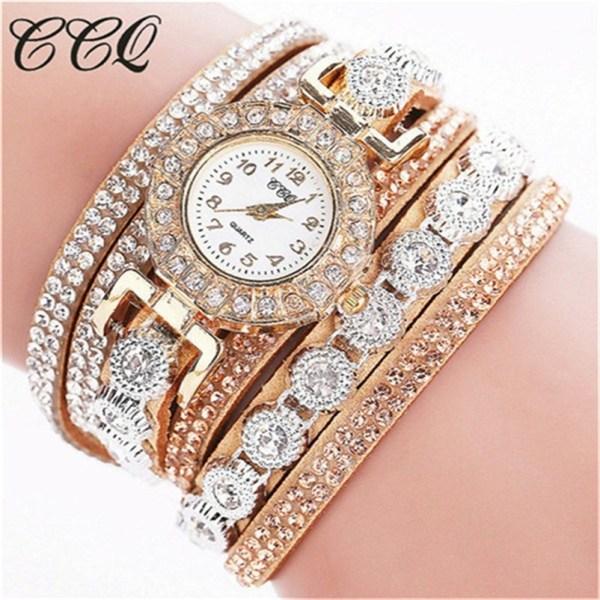 Bracelet Ladies Watch Rhinestones Clock