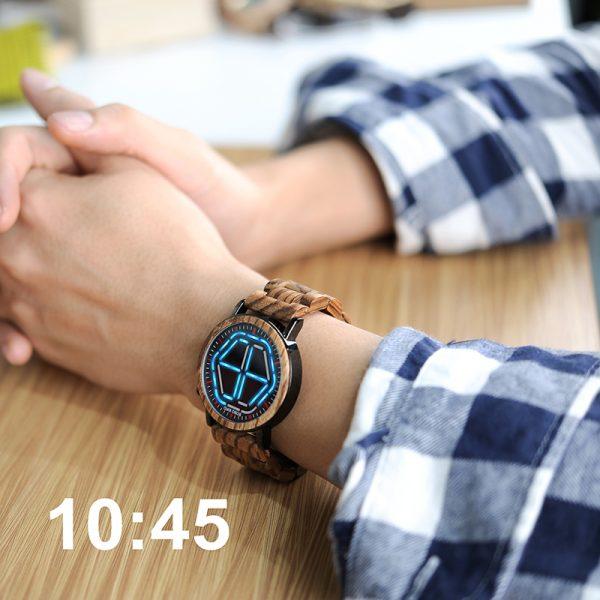 Digital Watch Night Vision Wooden Watch