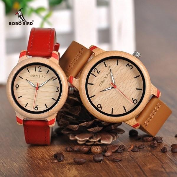 Lovers Bamboo Watches Analog Quartz