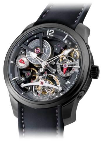 El primer reloj negro de la Manufactura es también una pieza de confiabilidad absoluta debido a la precisión garantizada: doble tourbillon dispuesto a 30 grados