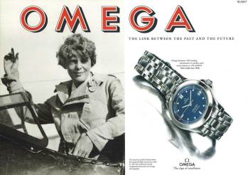 The American Amelia Earhart before her equatorial flight around the world in 1937, her weistwatch ant the navigational instrument are Omega Chronographs.