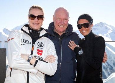 Maria Höfl-Riesch, Campeona mundial de esquí y Embajadora de la marca, Jean-Claude Biver, Chairman de Hublot y Tina Zegg