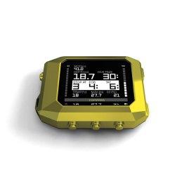 The Reef - Yellow Modo de funcionamiento: Modo Land - (para configuración y bitácora) Modo Buceo - (con algoritmo de Buhlmann con factores de gradiente) Modo de inmersión APNEA - (futura actualización) Libro de registro (más de 15 días de registros de forma continua con una muestra / seg) Modo de ahorro de energía Fabricado en: Aluminio sólido anodizado negro y polímero (resistente a los golpes) Pantalla de cristal de zafiro anti-scratch de 55mm transflectiva LCD 220x176 píxeles, 260.000 colores de ajuste automático de luz de la pantalla Sensor de presión interno a 130m Brújula con eje de inclinación del sensor de compensación Sensor de temperatura interna Alto rendimiento / baja potencia múltiples plataformas MPU Red de sensores inalámbricos de 2,4 GHz 128 Mbits de memoria flash 4 botones de la interfaz de usuario Software actualizable inalámbrico y transferencia de registro a la computadora Alarm Clock Memoria recargable menos con 28 horas de buceo continuo Resistente al agua 300 metros, 1.000 metros 150 gramos (incluyendo el líquido interno 15 ml) Cargador con USB 2.0 e interfaz inalámbrica de 2.4GHz