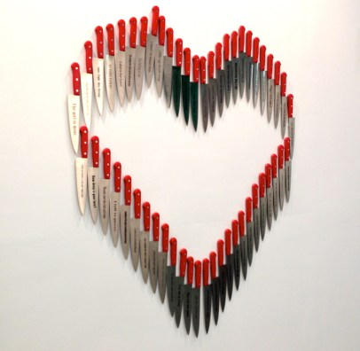 "Mario Mauroner ""Contemporary Art (Salzburg-Vienna) / Carlos Aires: Requiem, 2010 *40 engraved knives, magnets (100x 100x 10 cm)"