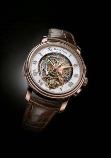 Blancpain Carrousel Répétition Minutes Chronograph Flyback, conjuga la totalidad de este patrimonio y del saber hacer ancestral de la Manufactura de Le Brassus. Una línea en la cumbre del arte relojero que refleja la fuerza innovadora de Blancpain.