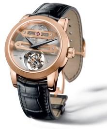 Bi-Axial Tourbillon / Caja de oro rosa dotada de un movimiento mecánico de cuerda manual de manufactura con autonomía de 72 horas.