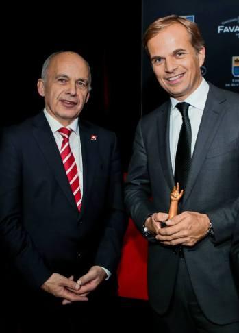 Ueli Maurer, Presidente de la Swiss Confederation y Jean-Frédéric Dufour.
