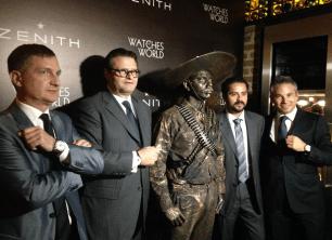 """Fausto Salvi, Director General de Attila México, Aldo Magada, President and CEO de Zenith, """"Emiliano Zapata"""", Edgar Zapata y Nicolas Meda, International Commercial Director de Zenith."""