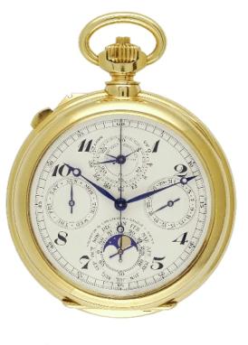 1931: cronógrafo con split seconde y calendario perpetuo hecho en oro amrarillo. Pulsador desde corona.