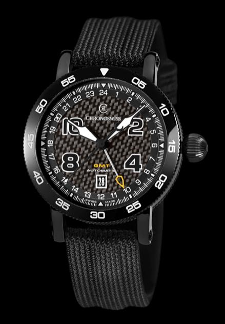 CHRONOSWISS TIMEMASTER GMT: CH-2535 caja de acero inoxidable con tratamiento DLC y carátula de fibra de carbón.