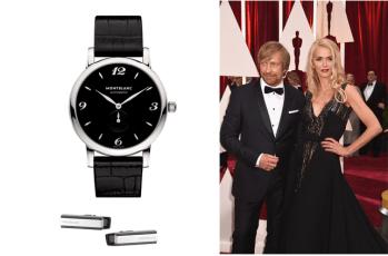 Aquí el director Morten Tyldum nominado por Imitation Game con el reloj Montblanc Star Classique (107072 y mancuernillas Montblanc (109778)