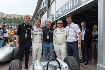 Grand-Prix-Monaco-Historique-2016-004---KF-Scheufele-with-Mark-Webber,-Brendon-Hartley,-Romain-Dumas-and-Jacky-Ickx-before-the-parade