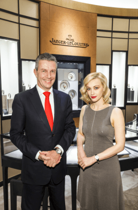 Jaeger-LeCoultre CEO Daniel Riedo and Actress Sarah Gadon - Vancouver Boutique Opening - GettyImages