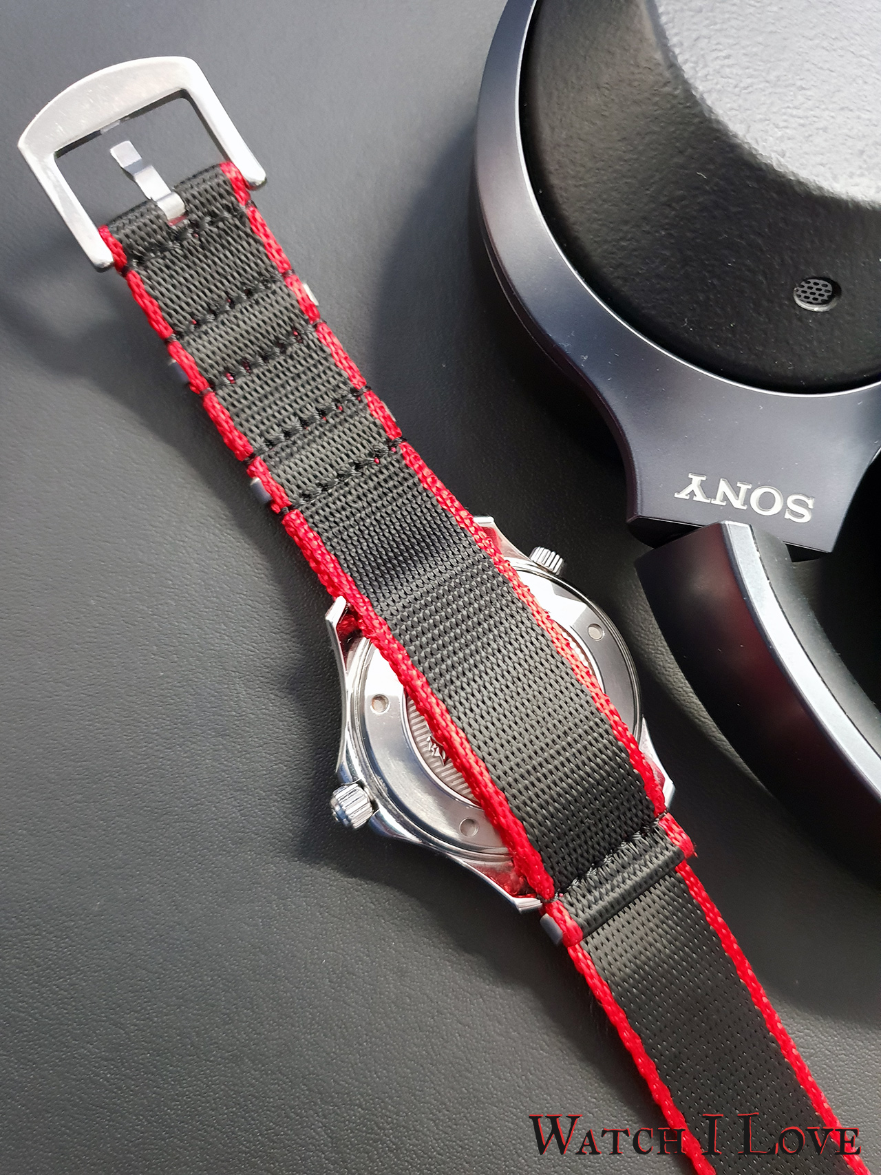 Watchbandit Nato Strap Black & Red | WB Original