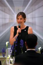 Catherine Rénier giving a welcome speech at the gala dinner @getty