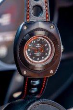 Blasta Watch Scuderia Veloce, nero profondo. Photo taken in the interior of a Alfa Romeo Montreal. ©2019 Blasta Watch Ltd. All Rights reserved.
