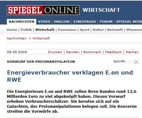 Artículo del Spiegel sobre manipulación de precios de E.ON y RWE