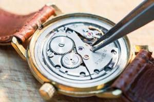 interior of wristwatch showing jewels