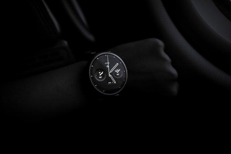 wristwatch at nighttime