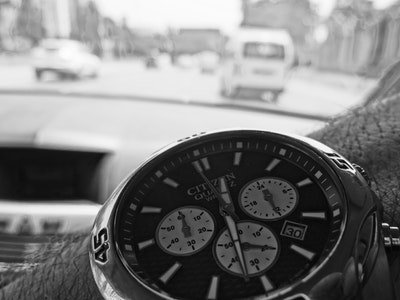 car driver with citizen chronograph watch