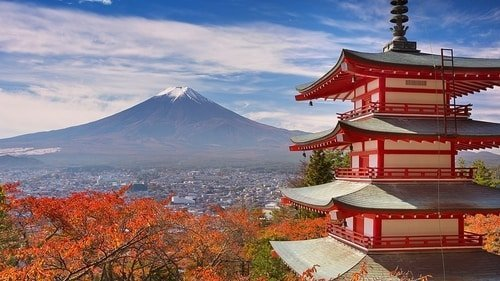 japan temple and mountain