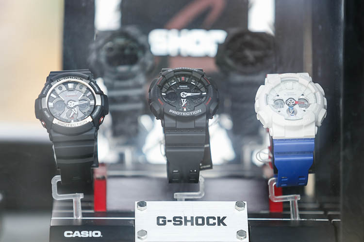 New waterproof Casio G-shock wrist watches in shop