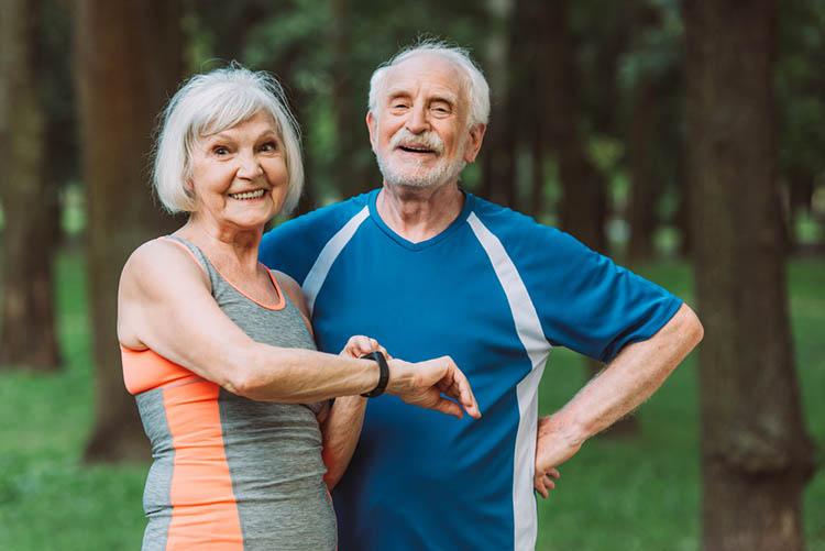 Elderly enjoying afternoon routine