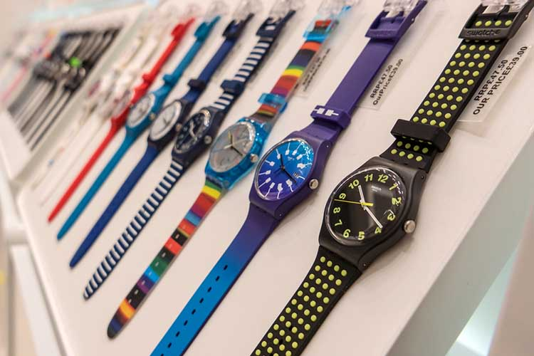 LONDON - CIRCA MAY, 2018: Swatch watches inside Gatwick Airport.