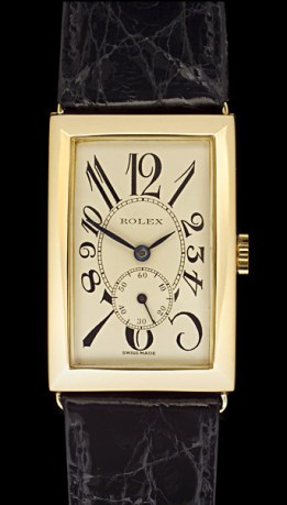 1928 Rolex rectangular exploded numerals with sub seconds.