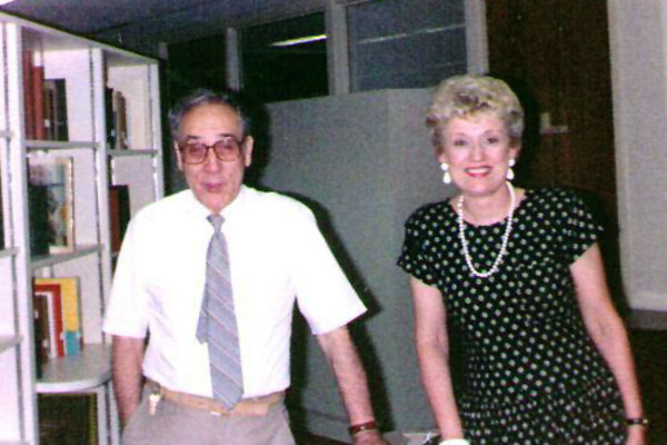 Ciro Aulicino and Barbara in a Bethel writing department library