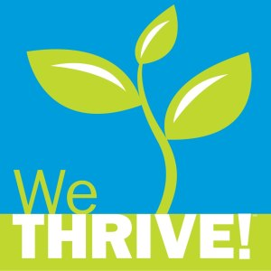 Blue Square with green sprout growing from bottom Green and White WeTHRIVE! Logo